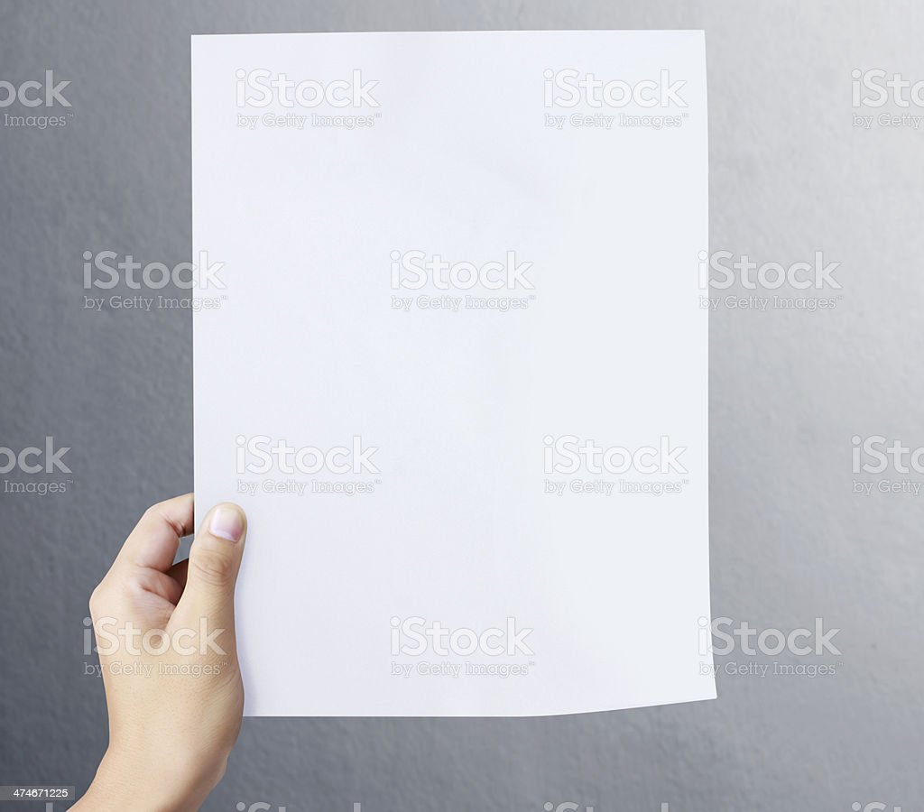 Businessman showing the big blank card stock photo