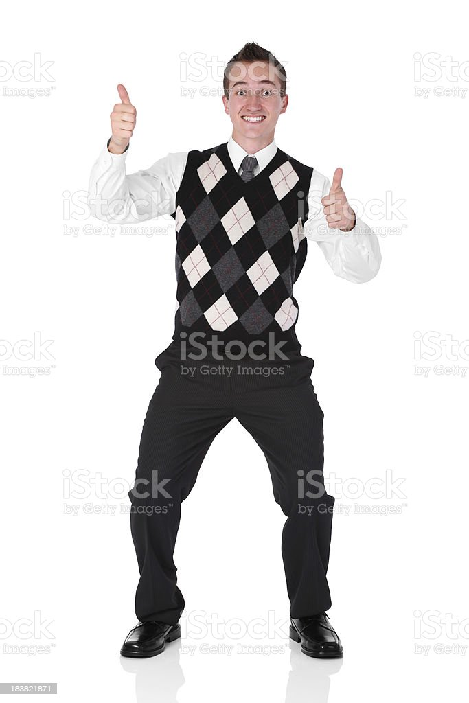 Businessman showing thumbs up sign stock photo