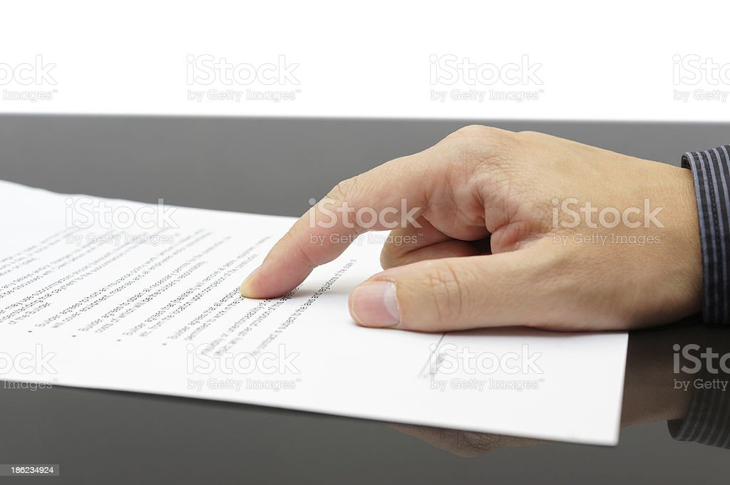businessman showing Treaty article stock photo