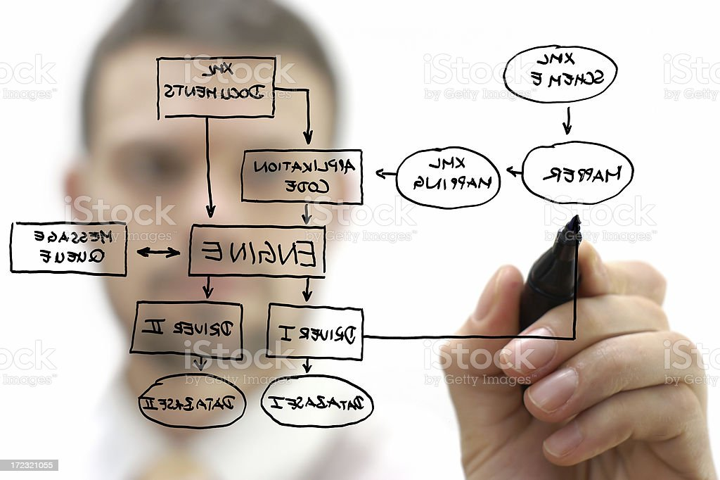 businessman showing XML structure stock photo