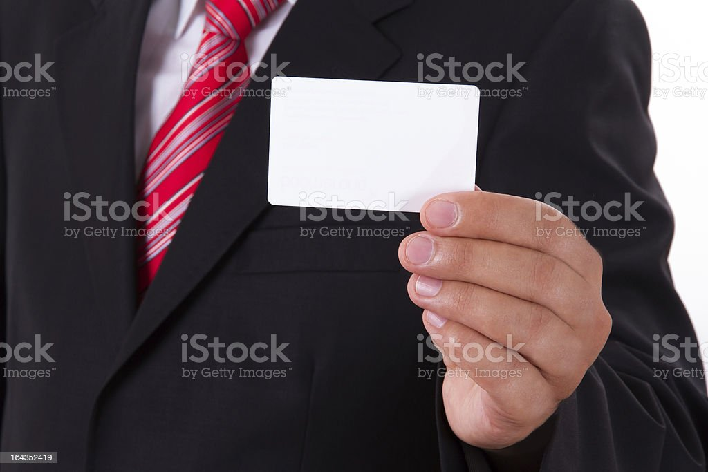 Businessman Shows Blank Business Card royalty-free stock photo