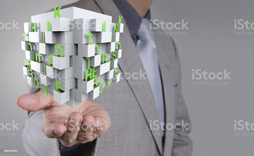 businessman shows word thinking outside the box as concept royalty-free stock photo