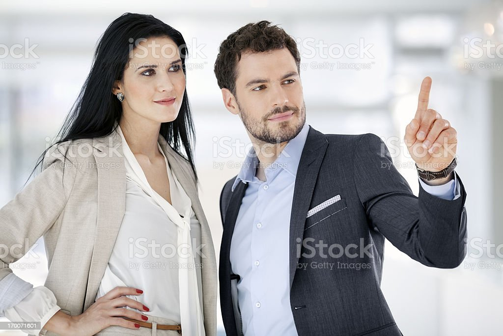 businessman shows,presses on empty virtual screen,keyboard royalty-free stock photo
