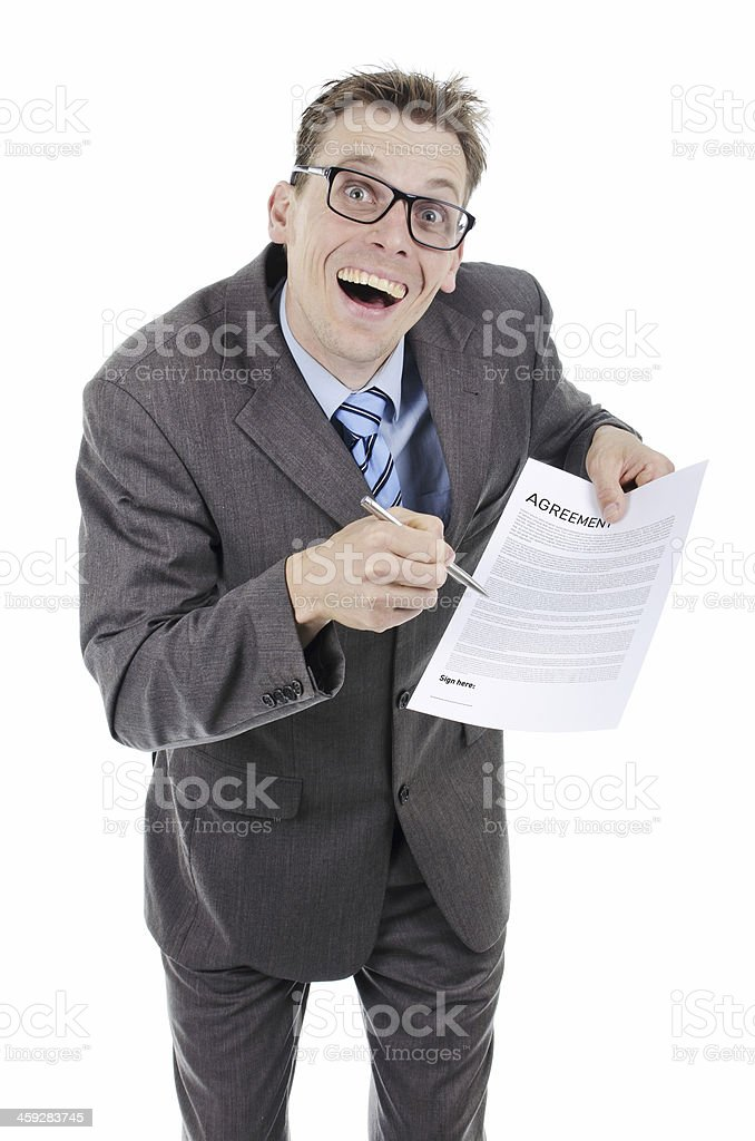 Businessman sign here please stock photo