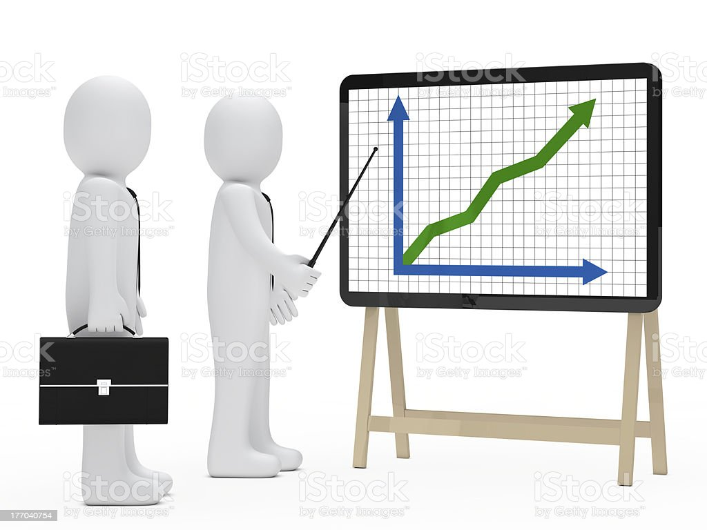 businessman signboard graph royalty-free stock photo