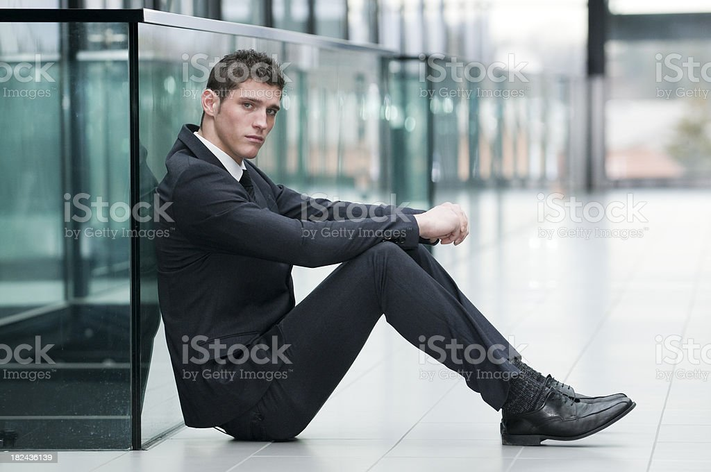 businessman sitting at the floor royalty-free stock photo