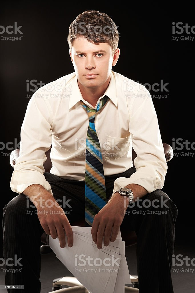 Businessman Sitting in Chair royalty-free stock photo