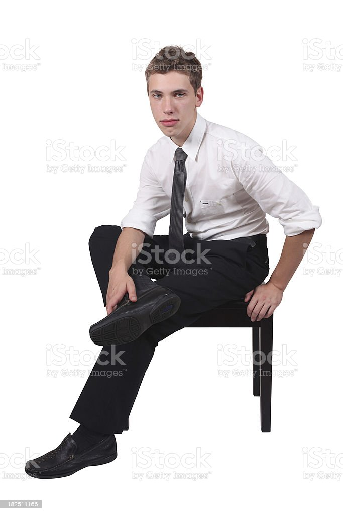 Businessman sitting leg crossed royalty-free stock photo