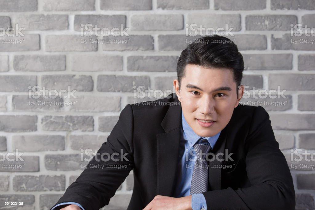 businessman smile to you stock photo