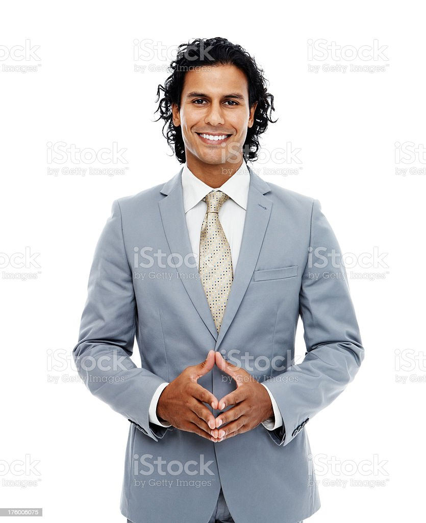 Businessman smiling over white background royalty-free stock photo