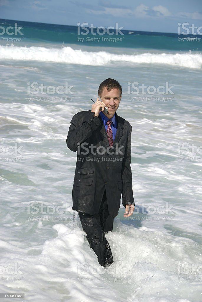 Businessman Soaked on the Phone royalty-free stock photo