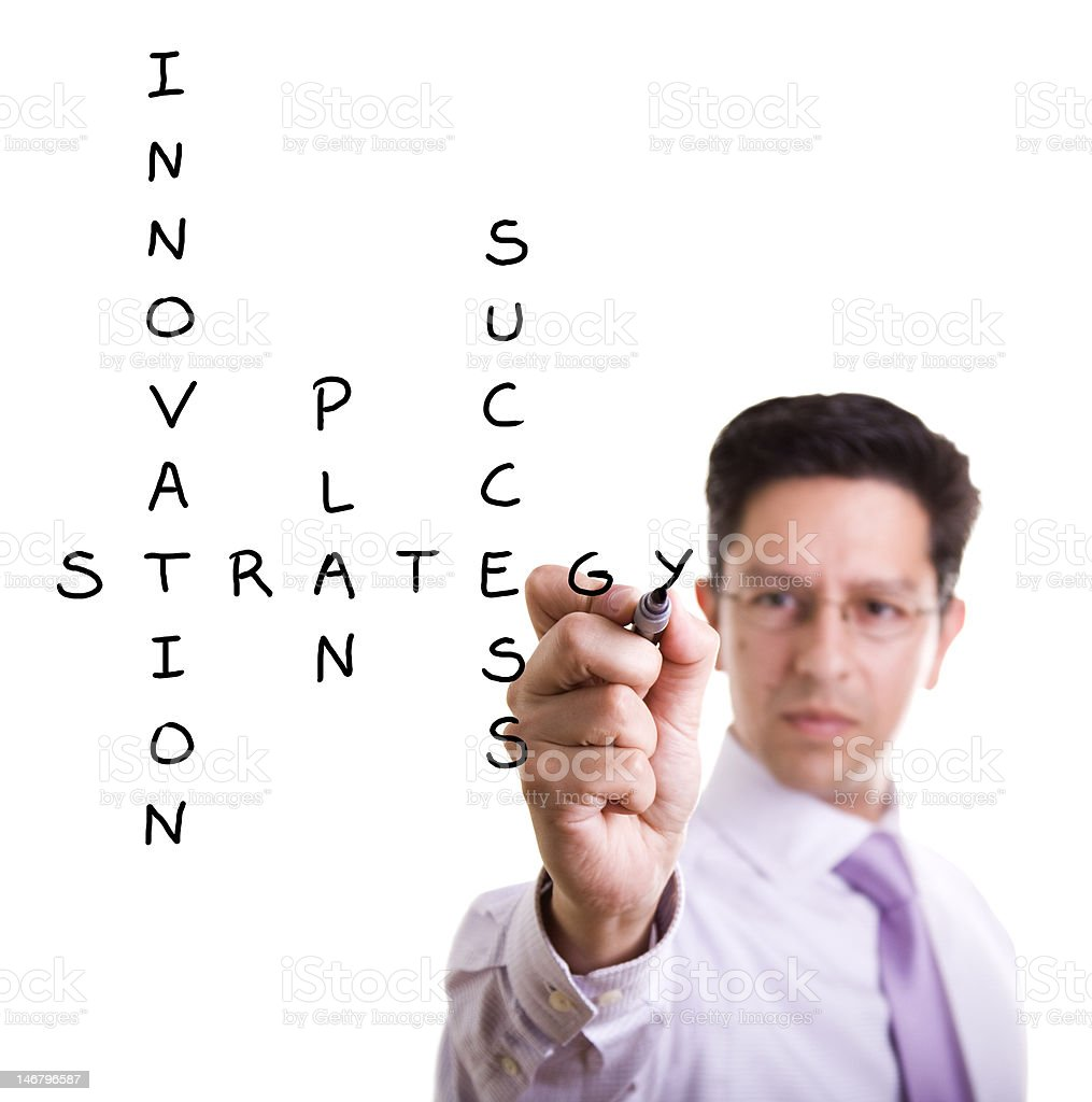 Businessman solving a strategy plan royalty-free stock photo