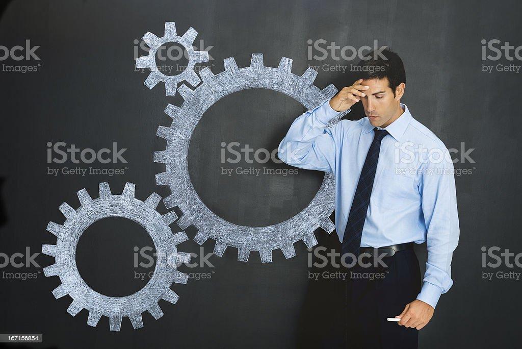 Businessman solving problems stock photo