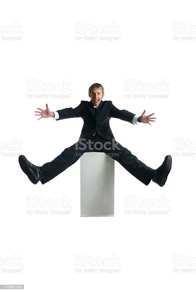 Businessman spinning the world royalty-free stock photo