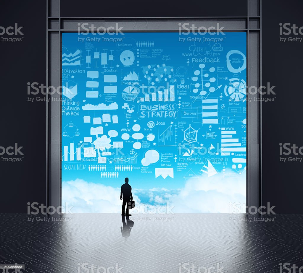 businessman standing at 3d network server room royalty-free stock photo