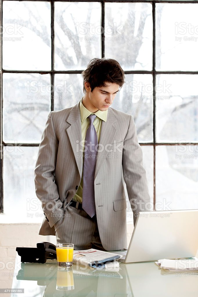 Businessman standing at desk viewing laptop royalty-free stock photo
