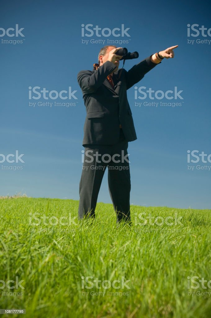 Businessman Standing in Field and Looking Through Binoculars royalty-free stock photo