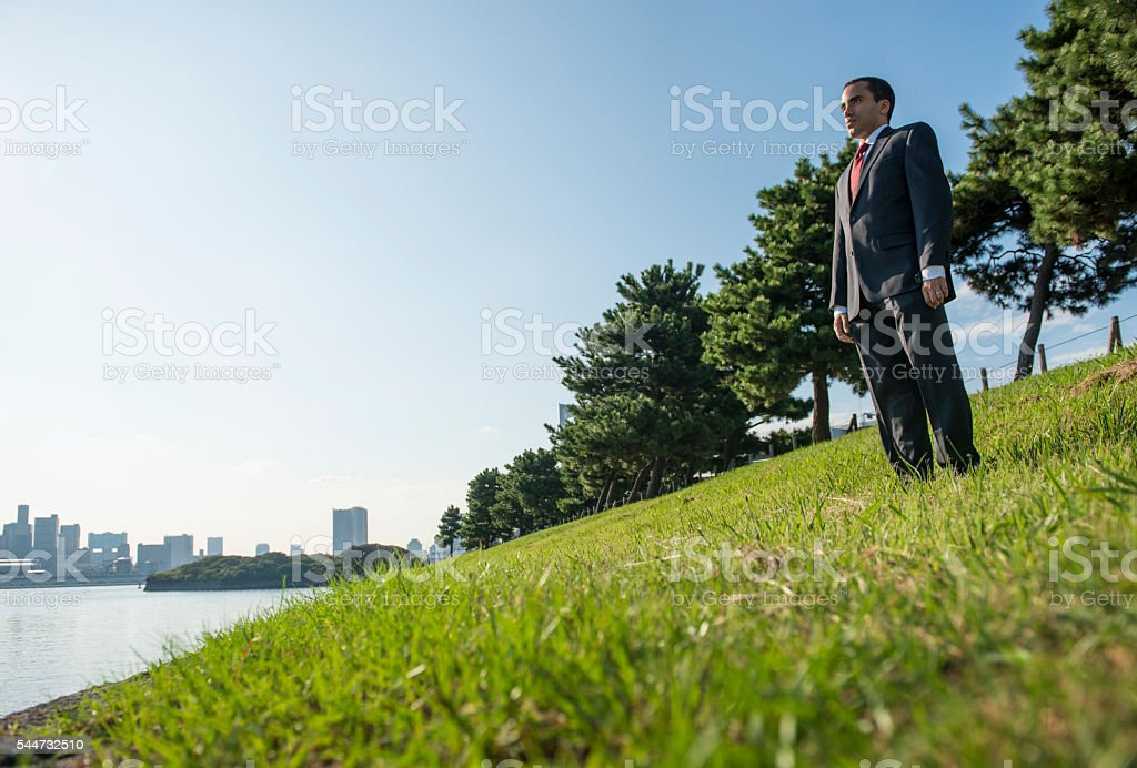Businessman standing in park staring sea. stock photo