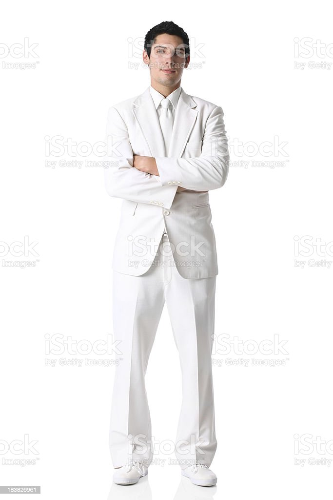 Businessman standing in white suit stock photo