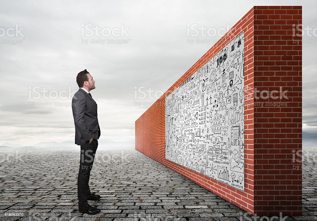 Businessman standing look at drawing business planning. stock photo