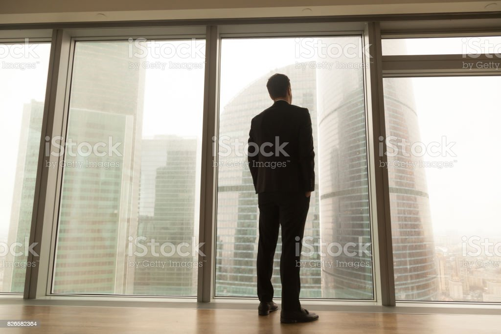 Businessman standing near full-length window looking at city, back view stock photo
