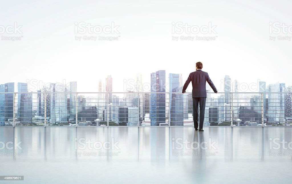 Businessman standing on a roof and looking at city stock photo