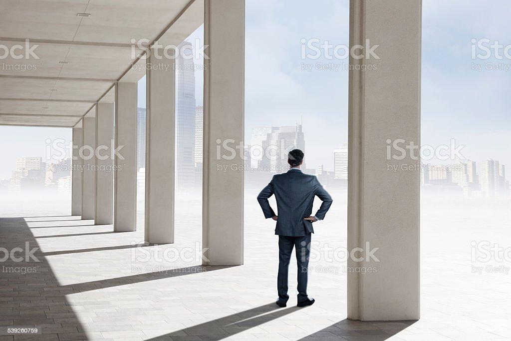 Businessman standing on pavilion looking at distant big city skyline stock photo