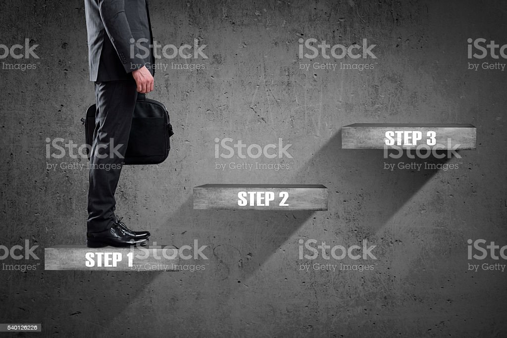 Businessman standing on staircase to successful business steps. stock photo