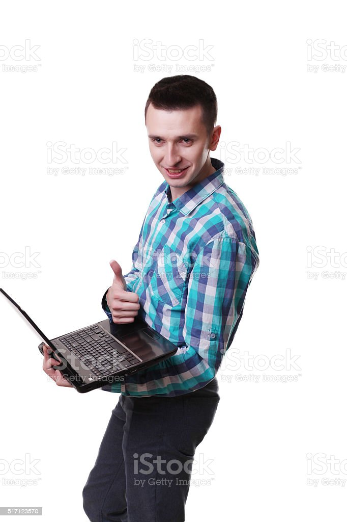 Businessman standing posture hand hold notebook laptop isolated royalty-free stock photo