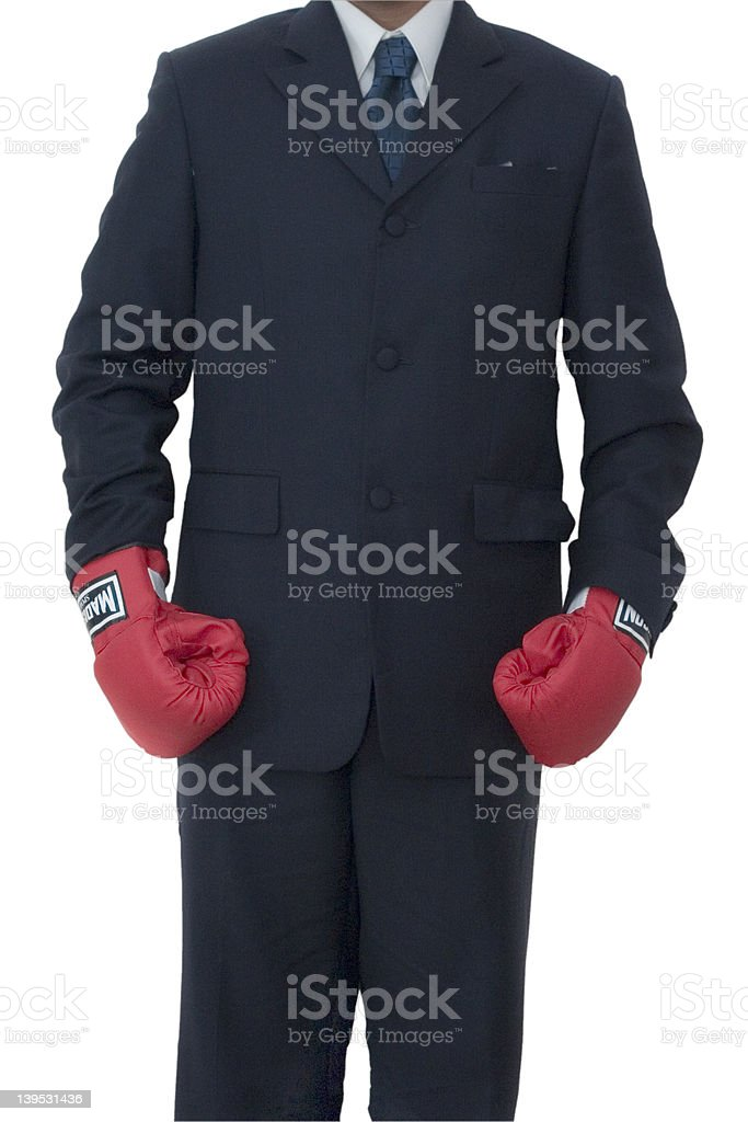 Businessman standing tall royalty-free stock photo