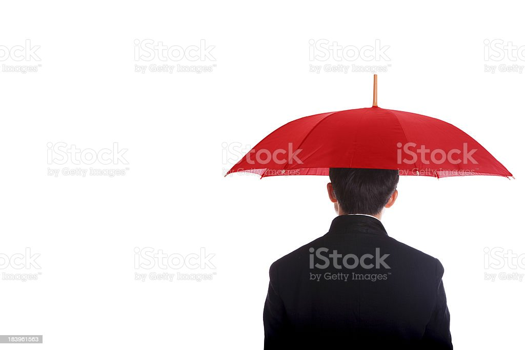 Businessman standing umbrella. royalty-free stock photo
