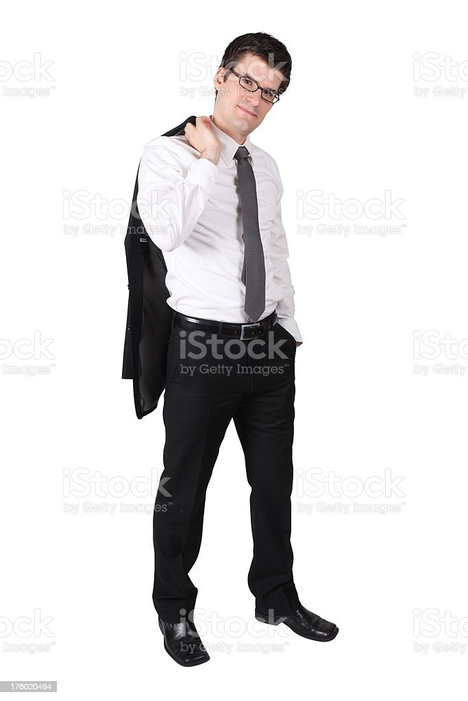 Businessman standing with jacket over his shoulder stock photo