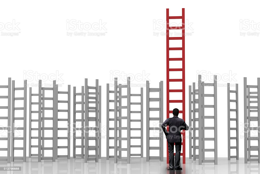 businessman standing with ladder to success stock photo