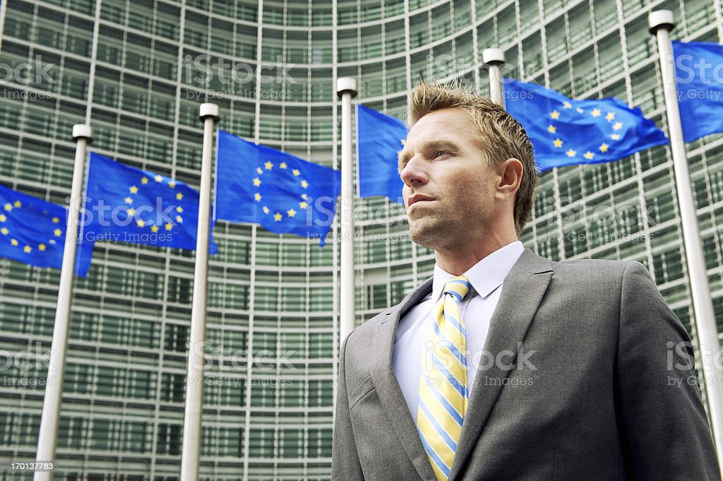 Businessman Stands at EU European Commission Headquarters Building Brussels stock photo