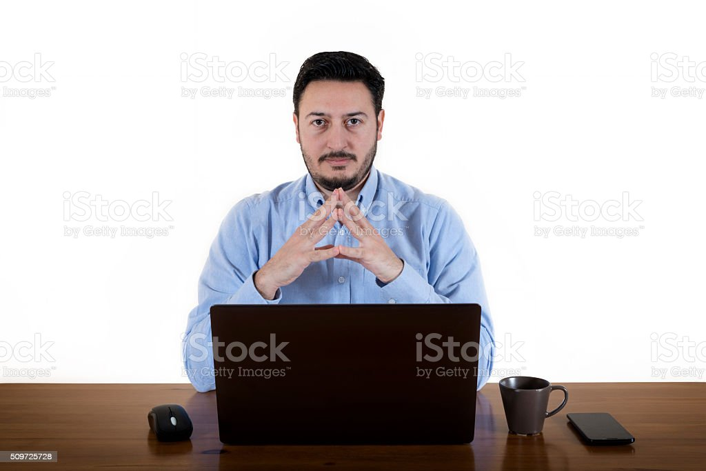 Businessman Staring At Employee stock photo