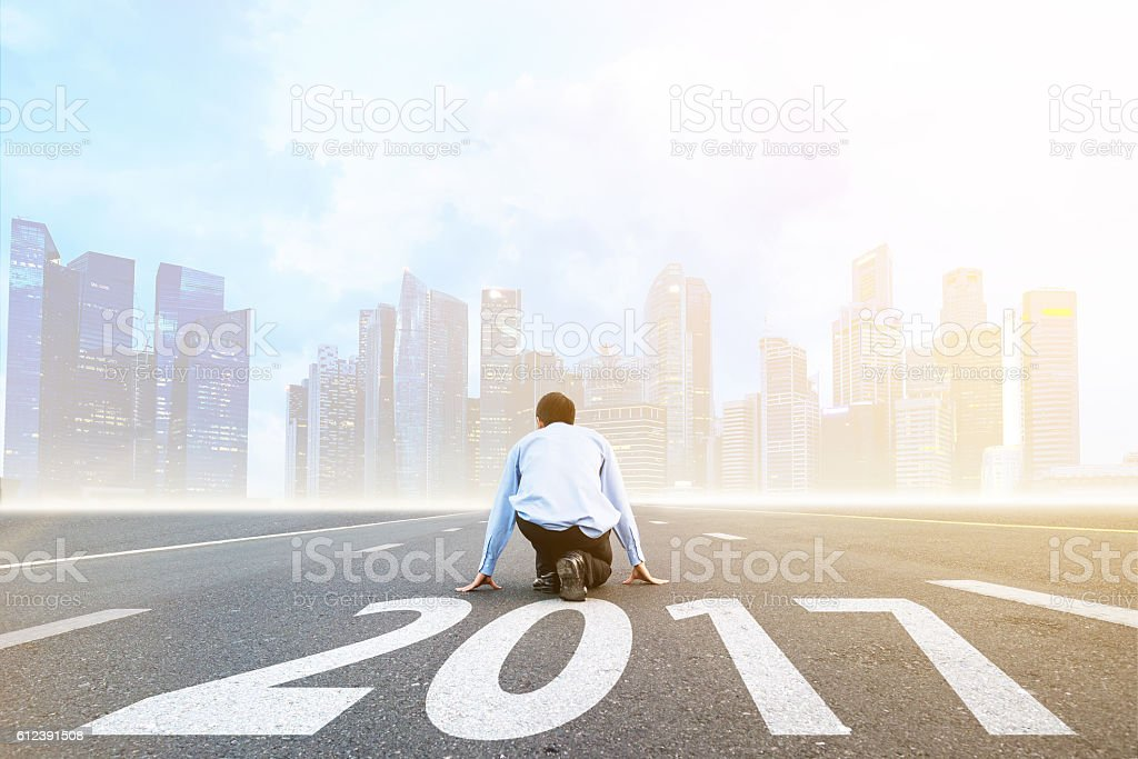 businessman Start to new year 2017 stock photo