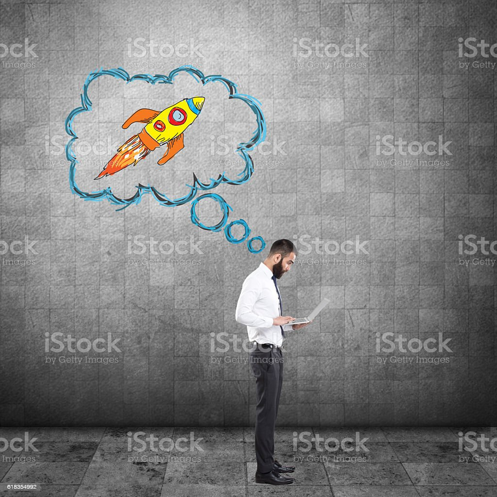 Businessman start-up launch stock photo