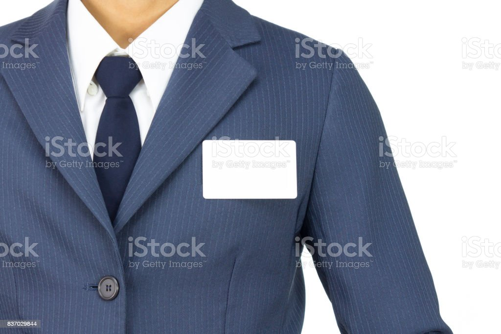 Businessman Stick Business card at Chest Isolated on White Background stock photo