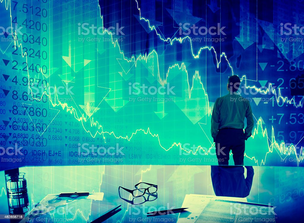 Businessman Stock Market Crisis Crash Finance Concept stock photo