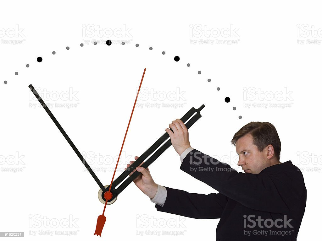 Businessman stop time stock photo