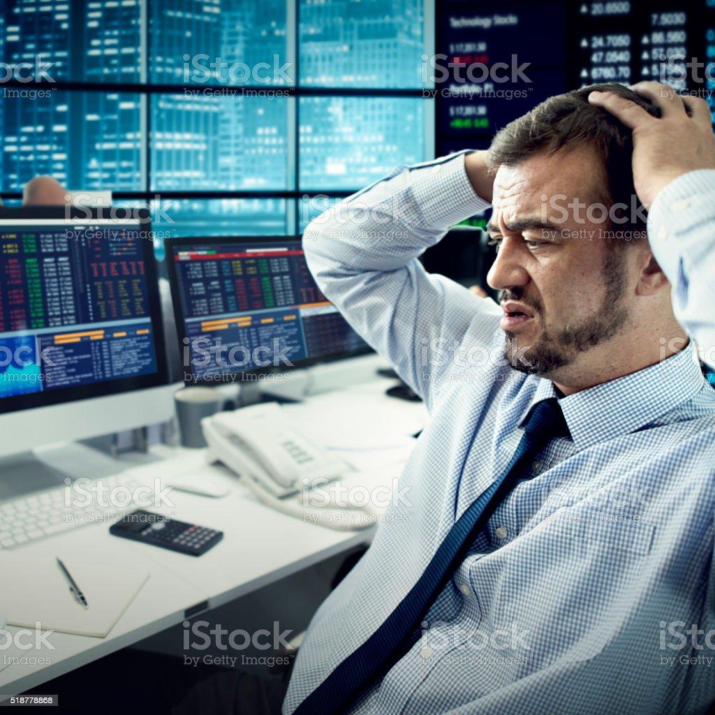 Businessman Stress Failed Unsuccessful Stock Concept stock photo