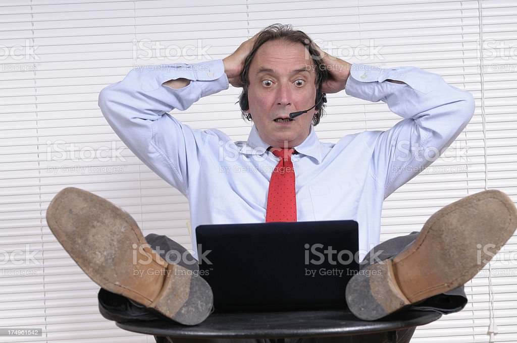 Businessman Stressed Looking PC royalty-free stock photo