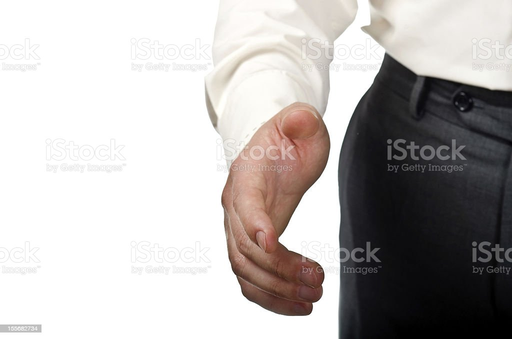 Businessman stretched hand stock photo
