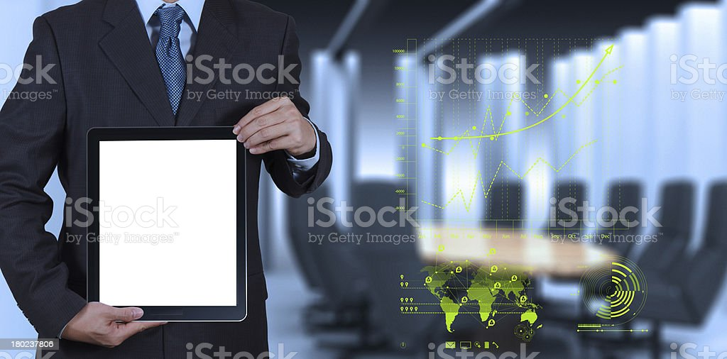 businessman success working with blank tablet computer his board royalty-free stock photo