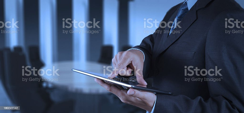 businessman success working with tablet computer his board room royalty-free stock photo