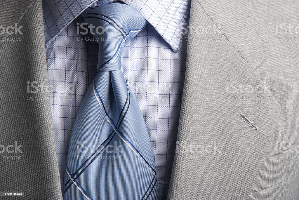Businessman Suit and Tie Windsor Knot Checked Collar Close-Up stock photo