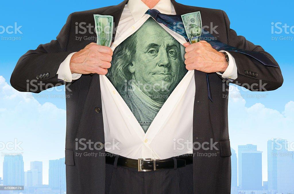 Businessman Superhero Stock Market Money Success stock photo