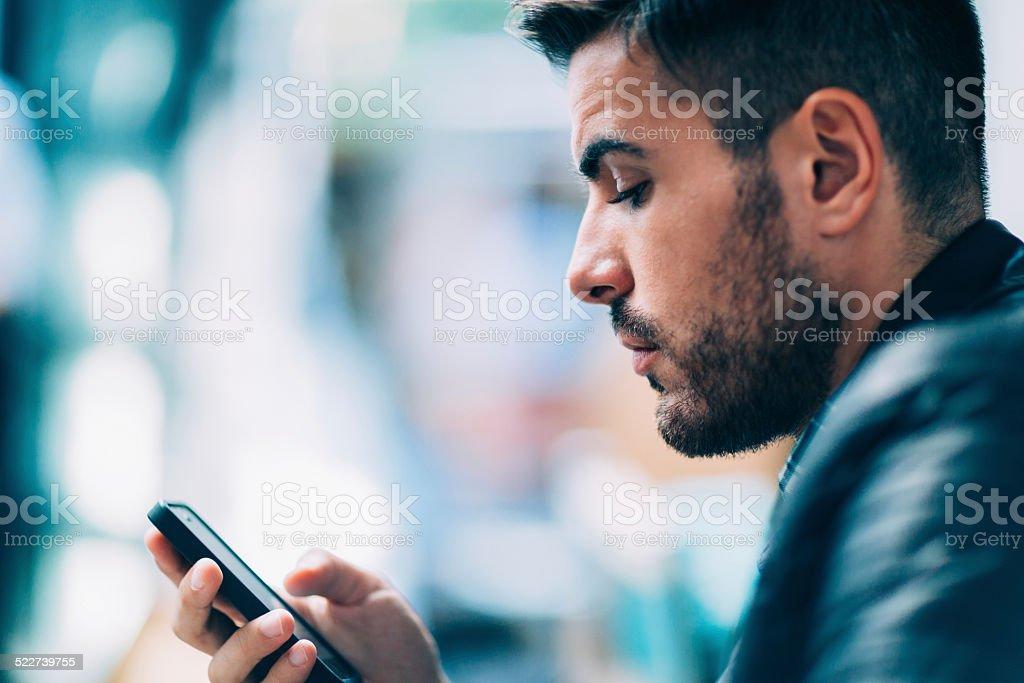 Businessman surfing the net stock photo