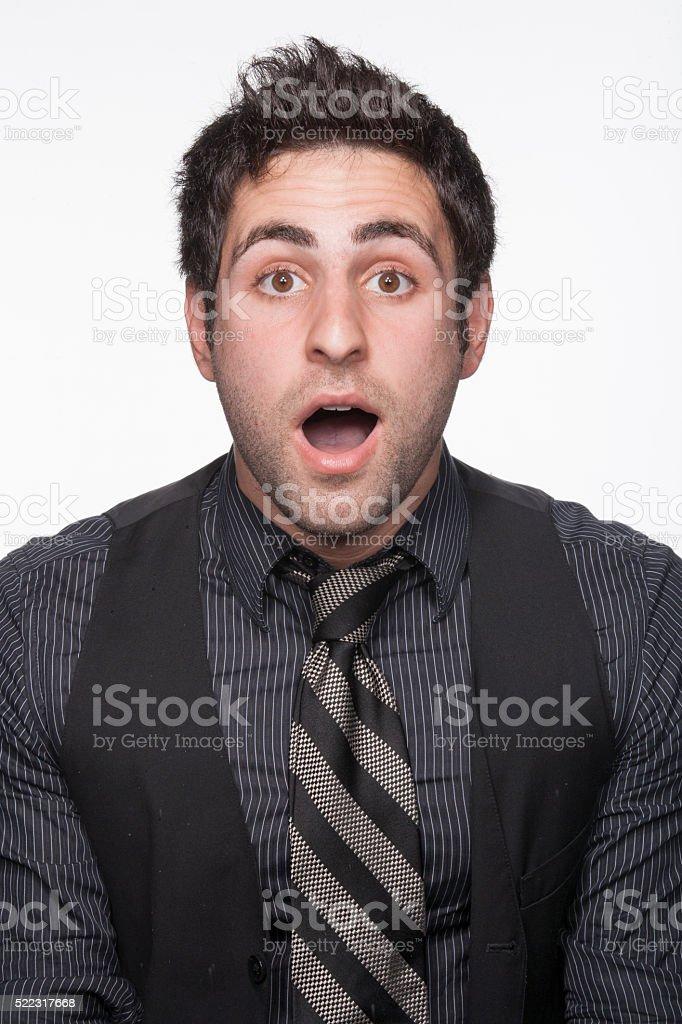 Businessman surprised stock photo