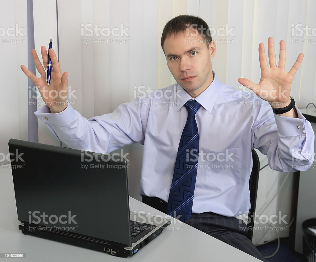 businessman surrenders. royalty-free stock photo